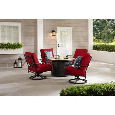 Bowbridge 5-Piece Black Steel Outdoor Patio Fire Pit Seating Set with CushionGuard Chili Red Cushions