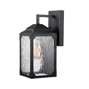 Miller 1-Light Black Outdoor Wall Lantern Sconce