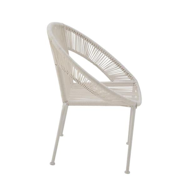 LITTON LANE - White Metal Contemporary Outdoor Chair