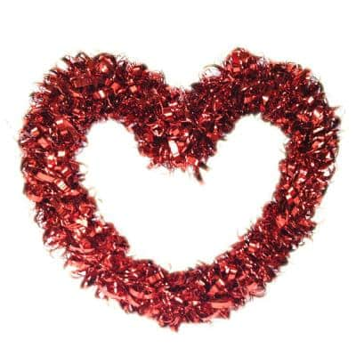 17 in. Valentine Red Tinsel Curly Wreath
