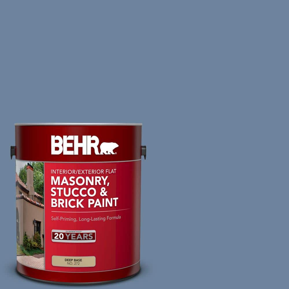 Behr 1 Gal S520 5 Thundercloud Flat Interior Exterior Masonry Stucco And Brick Paint 27201 The Home Depot