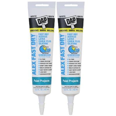 Alex 5.5 oz. Fast Dry White Acrylic Latex Plus Silicone Caulk (2-Pack)