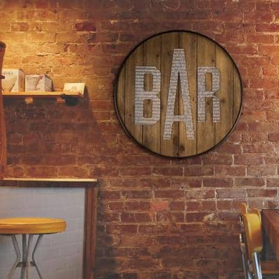 Round Rustic Wood Galvanized Metal Bar Sign