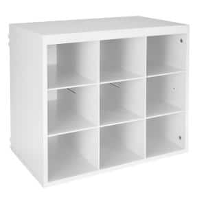 20 in. H x 24 in. W x 14 in. D White Wood Look 9-Cube Storage Organizer