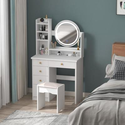 5-Drawers White Makeup Vanity Dressing Table Set with Stool, Mirror, LED Light and Storage Shelves Girls Dressing Table