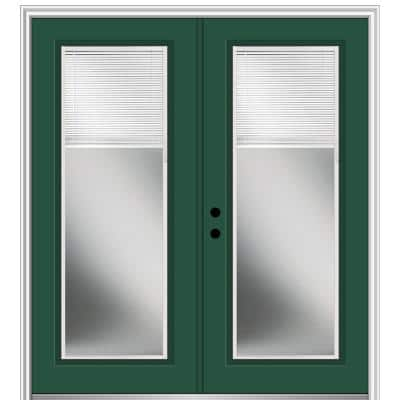 60 in. x 80 in. Internal Blinds Right-Hand Inswing Full Lite Clear Glass Painted Steel Prehung Front Door