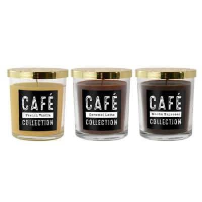 Coffee Cafe Collection Scented Candles in 10 oz. Glass Jars (Set of 3)