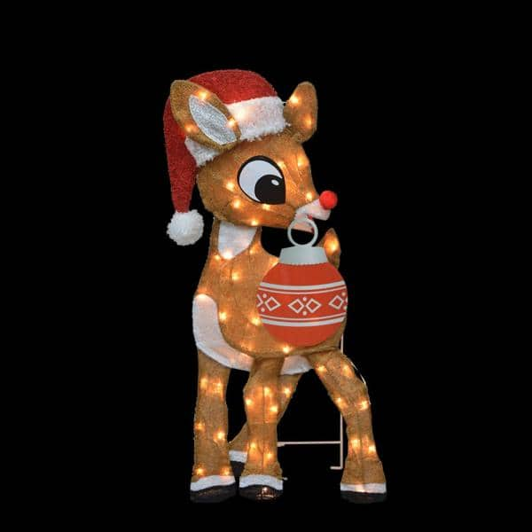 Rudolph 32 in. Rudolph 2D Rudolph with Christmas Ornament Outdoor Lighted Christmas Decor | The Home Depot
