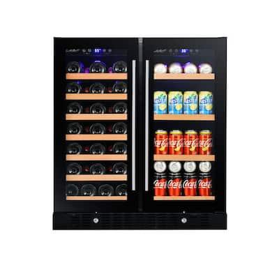30.24 in. 37-Bottle Wine and 55-Can 2-Door Beverage Cooler (Glass)