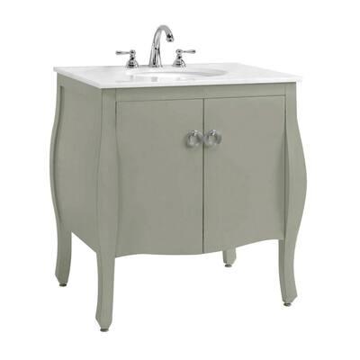 Savoy 31 in. W x 22 in. D Bath Vanity in Antique Grey with White Marble Vanity Top in White with White Sink