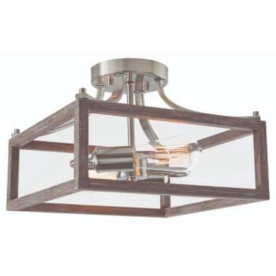 Boswell Quarter 12-1/2 in. 2-Light Brushed Nickel Farmhouse Semi-Flush Mount with Painted Weathered Gray Wood Accents