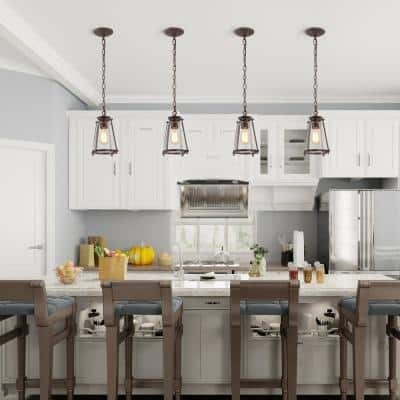 Asaf 1-Light Oil-rubbed Bronze Mini Hanging Lantern LED Compatible Modern Pendant Light with Seeded Glass Shade