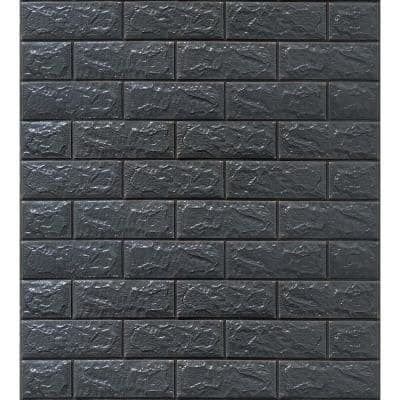 Falkirk Jura II 1/3 in. 28 in. x 30 in. Peel and Stick Charcoal Faux Bricks PE Foam Decorative Wall Paneling (5-Pack)