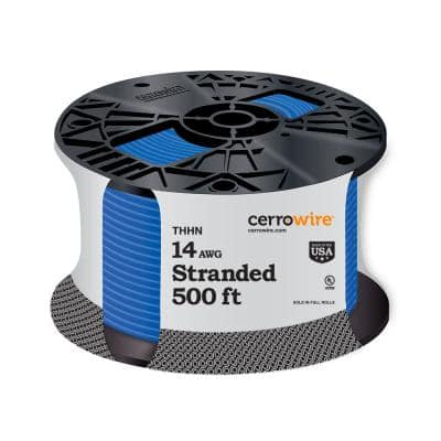 500 ft. 14 Gauge Blue Stranded CU THHN Wire