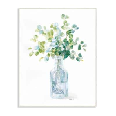 """10 in. x 15 in. """"Flower Jar Still Life Green Blue Painting"""" by Danhui Nai Wood Wall Art"""