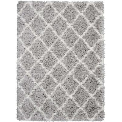Ultra Plush Shag Charcoal/Beige 9 ft. x 12 ft. Shag Contemporary Area Rug
