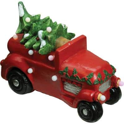 18 in. Christmas Morning Red LED Lighted Musical Truck with Tree Tabletop Figure