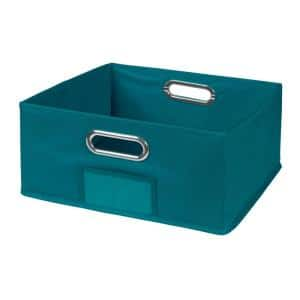 Cheer 12 in. D x 6 in. H x 12 in. W Teal Fabric Cube Storage Bin