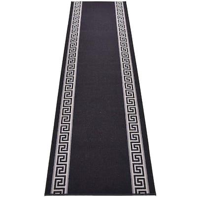 "Meander Greek Key Design Cut to Size Black Color 26"" Width x Your Choice Length Custom Size Slip Resistant Runner Rug"