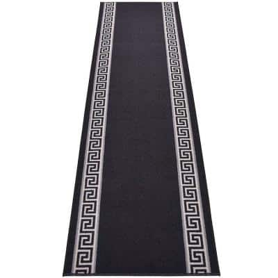 "Meander Greek Key Design Cut to Size Black Color 32"" Width x Your Choice Length Custom Size Slip Resistant Runner Rug"