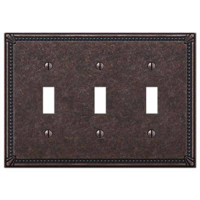 Imperial Bead 3 Gang Toggle Metal Wall Plate - Tumbled Aged Bronze