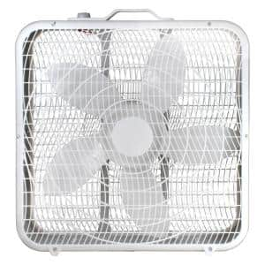 20 in. White High Performance Box Fan with Carry Handle