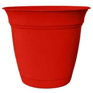 Belle 10 in. Dia. Strawberry Red Plastic Planter with Attached Saucer