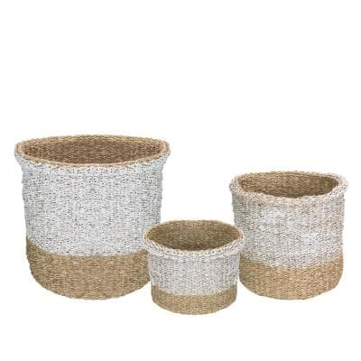 Beige and White Wicker Table and Floor Baskets (Set of 3)