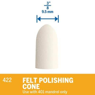 3/8 in. Rotary Tool Felt Polishing Cone for Ferrous Metals, Stones, Glass, and Ceramics