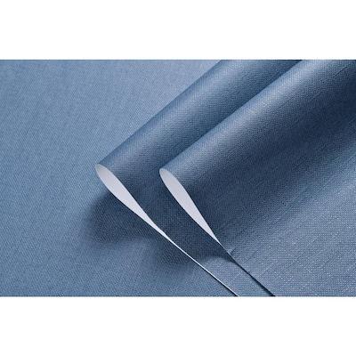 Linen Texture Vinyl Peel and Stick Wallpaper Roll, DarkBlue, 2 ft. x 33 ft./Roll(2 Roll)