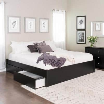 Select Black King 4-Post Platform Bed with 4-Drawers