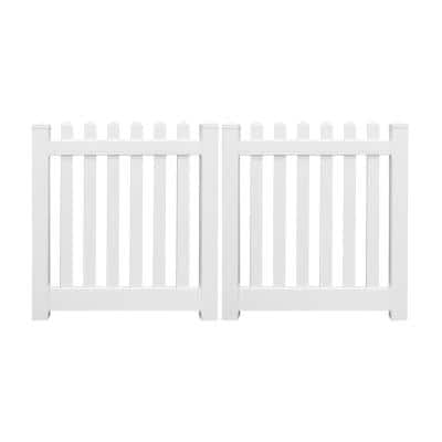 Plymouth 6 ft. W x 4 ft. H White Vinyl Picket Fence Double Gate Kit Includes Gate Hardware