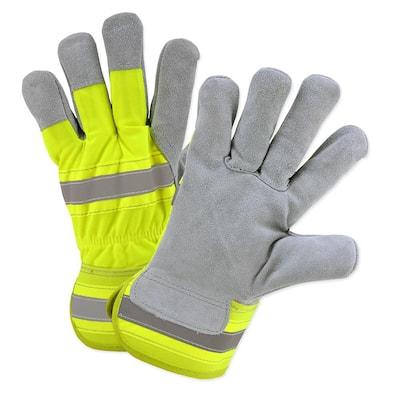 Hi-Vis Large Split Leather Palm Gloves