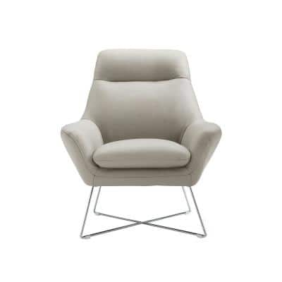 Daniellechair Light Gray Top Grain Italian Leather Stainless Steel Legs