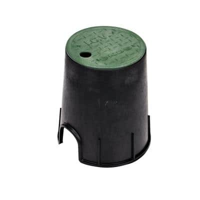 6 in. Round Valve Box and Cover, Black Box, Green ICV Cover