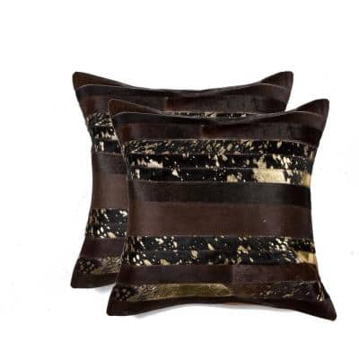 Josephine Gold Solid Color 18 in. x 18 in. Cowhide Throw Pillow (Set of 2)