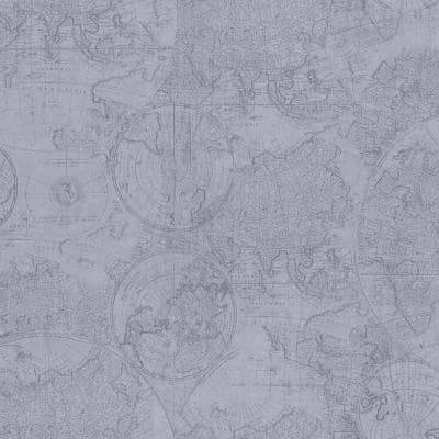 Cartography Blue Vintage World Map Blue Wallpaper Sample