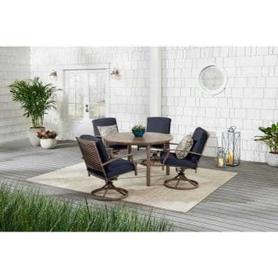 Geneva 5-Piece Brown Wicker Outdoor Patio Dining Set with CushionGuard Midnight Navy Blue Cushions
