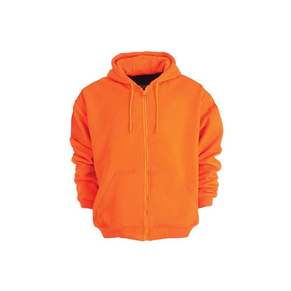 Berne Men S 4 Xl Regular Orange 100 Polyester Enhanced Visibility Hooded Sweatshirt Hvf101orr600 The Home Depot