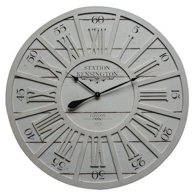 Kensington Station II Distressed White Analog Wall Clock