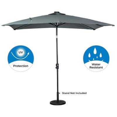 9 ft. x 7 ft. Rectangular Next Gen Solar Lighted Market Patio Umbrella in Grey