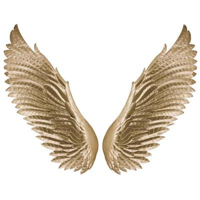 Chic Gold Wings Mixed Metal Media Wall Art