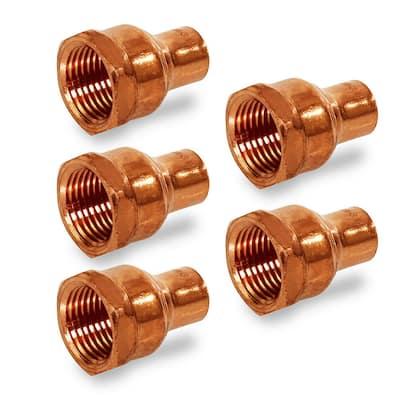 1/2 in. Sweat x 3/4 in. FIP Copper Reducing Female Adapter Fitting (5-Pack)