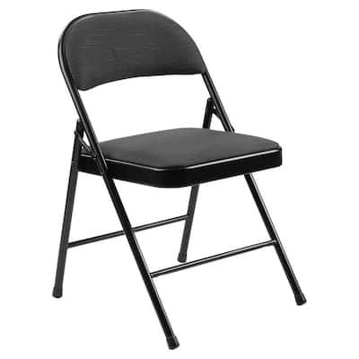 900 Star Trail Black Fabric Padded Metal Frame Folding Chair (4-Pack)