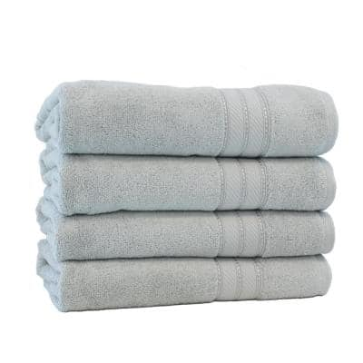 Spunloft 4-Piece Gray Solid Cotton Bath Towel Set