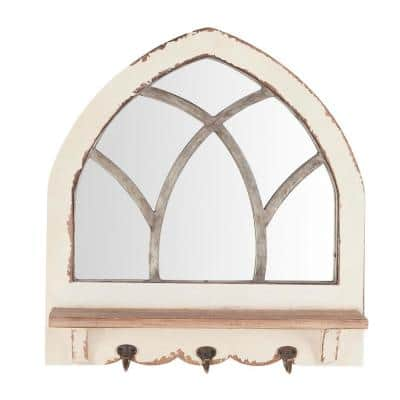 18 in. H x 19 in. W Arched Windowpane Framed Antiqued White Wood Mirror with 3 Hooks