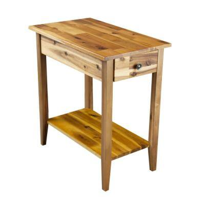 Solid Wood End Tables Accent The Home Depot - Renovo Solid Oak Side Table With Storage