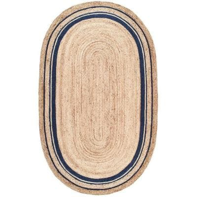 Rikki Braided Border Jute Navy 4 ft. x 6 ft. Oval Rug