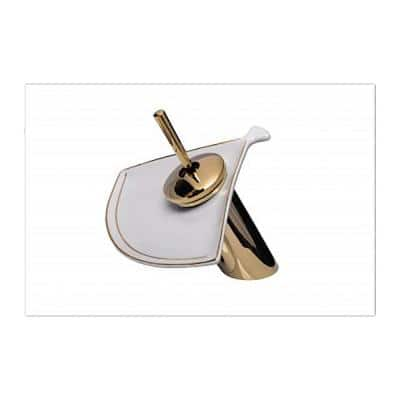 Shelly 7 in. H Single Handle Single Hole Waterfall Bathroom Faucet with White Shell Disk Included in Brass