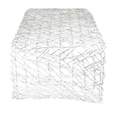 Silver Metallic Woven Paper Table Runner